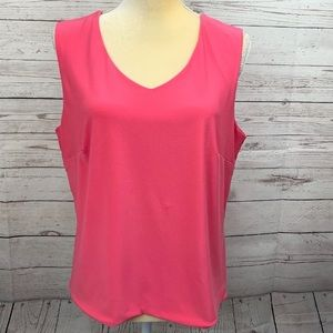 CAbi v-neck double layer tank top pink XL